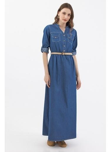 Pattaya Pattaya Kadın Kemerli Cep Detaylı Uzun Kot Elbise P21S110-3351 Mavi
